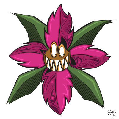 Toothy flower - coloured