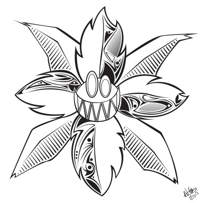 Toothy flower - line art